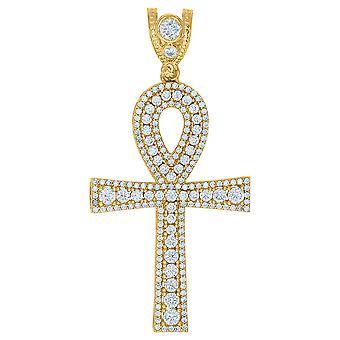10k Amarelo Ouro Mens CZ Cubic Zirconia Simulado Diamante Egípcio Ankh Cross Religious Charm Pingente Joias Gi
