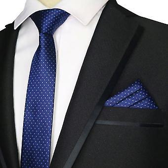 Navy & baby blue polka dot skinny tie & pocket square
