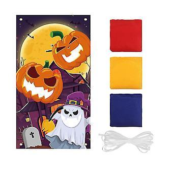Clispeed Halloween Pumpkin Bean Bag Toss Game Kit Funny Halloween Toss Game Banner z 3 Worki Fasoli Halloween Indoor Outdoor Throwing Game dla dzieci Pa