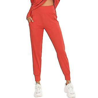 Mulheres esportes calças de cintura alta bolso rápido seco umidade-wicking respirável