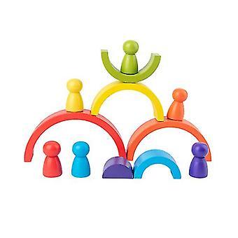 Giocattoli per blocchi di legno ad arco arcobaleno per bambini