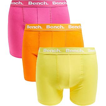 Bench Mens Dwight 3 Pack Plain Front Branded Waistband Boxer Shorts - Assorted
