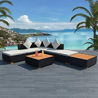 vidaXL 7 kpl. Garden Lounge -setti, jossa padit Poly Rattan Black