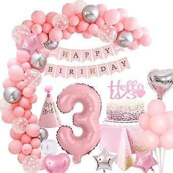 """Geburtstagsdeko Mädchen 3 Jahr, Rosa 40""""Zahlen Luftballon 3Geburtstag Mädchen Kindergeburtstag"""