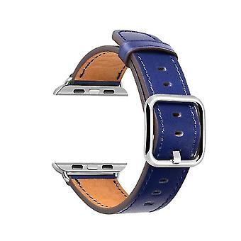 Leather Watch Strap with Classic Square Buckle for Apple Watch Series Pin Buckle Strap-blue-42 /