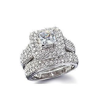 (5) Women Wedding Engagement Bridal Set Rings Princess Cut Cubic Zirconia 9