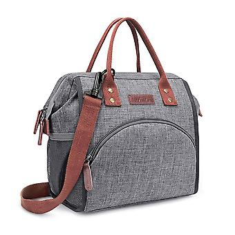 Lunch Bag Insulated Lunch Box Wide Open Lunch Tote Bag Durable Nylon Snack Storage Bag (including Shoulder Strap), Gray Sloth