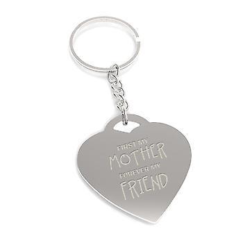 Først min mor for evigt min ven nøgle kæde mødre dag hjerte formet nøglering