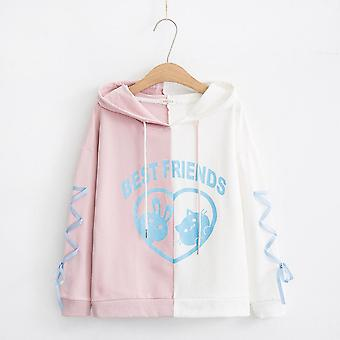 Cute Tutu Hooded Thin Sweater Girl Top-pink And White