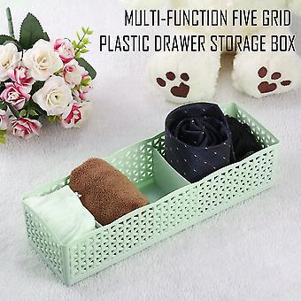 5 Grid Underwear Bra Sock Ties Storage Box Case Organizer Desk Drawer Closet