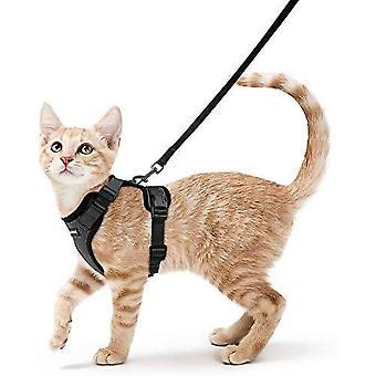 Imbracatura per gatti Rabbitgoo e guinzaglio per camminare, imbracatura morbida regolabile a prova di fuga per gatti, facile controllo