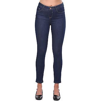 blå hvit kvinners midt midje mørk jean bukser