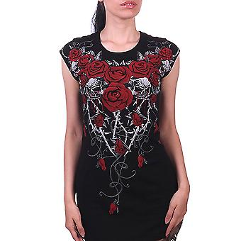 Fantasmogoria blood rose thorns - tunic t- dress - black
