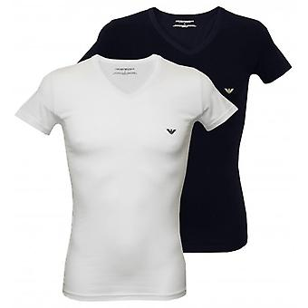 Emporio Armani 2-Pack Stretch bomuld v-hals T-Shirts, hvid/Navy