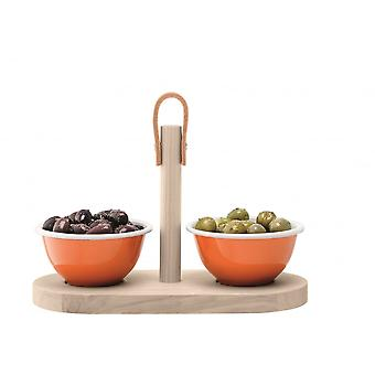 LSA International Utility Tapas Set With Ash Tray - Pumpkin Orange