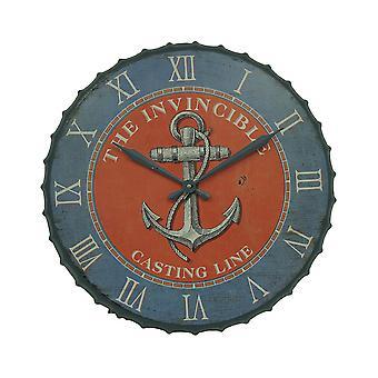 蓝色和橙色航海锚 23 英寸瓶盖壁钟