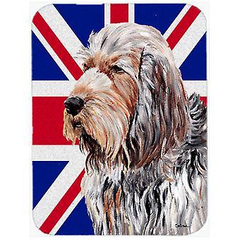 Otterhound with English Union Jack British Flag Glass Cutting Board Large Size