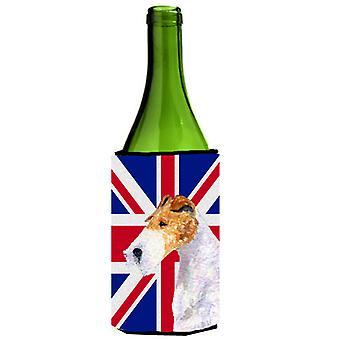 Fox Terrier with English Union Jack British Flag Wine Bottle Beverage Insulator