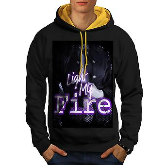 Light My Fire Fashion Men Black (Gold Hood)Contrast Hoodie | Wellcoda
