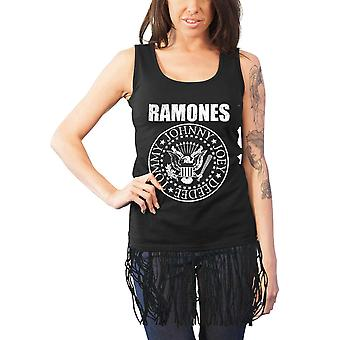 Ramones Vest Presidential Seal Logo Official Womens New Black Top with Tassels