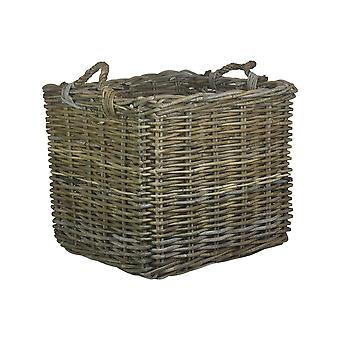 Small Square Grey Rattan Log Basket