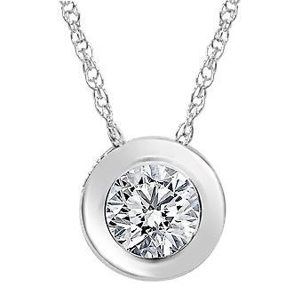1 / 2ct Solitaire kehys Diamond riipus 14K valkokulta