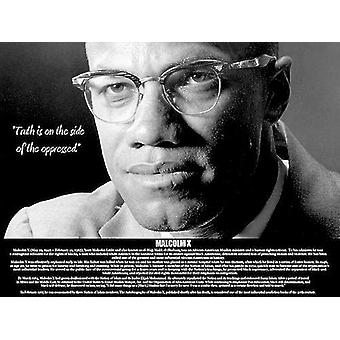 Malcolm X Poster Truth Is On Side Of The Oppressed (24x18)