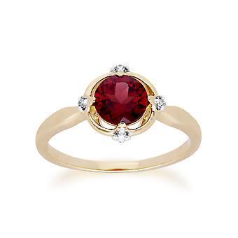 Gemondo 9ct amarelo ouro Halo Moçambique Garnet & diamante redondo anel de corte