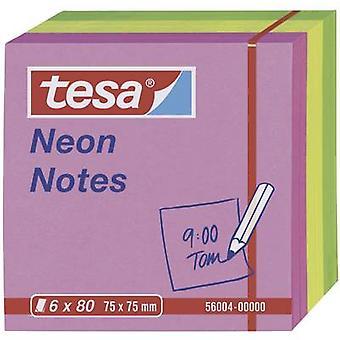 Tesa® הערות ניאון, 6 x 80 גיליונות ורוד/צהוב/ירוק 75 x 75 mm