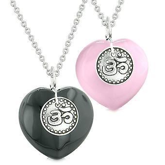 Spirituelle OM Amulette Liebespaare oder beste Freunde Herzen Achat Rosa simulierten Katzen Auge Halsketten