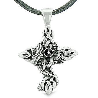 Fire Dragon skydd keltiska knutar Cross Power magiska amulett Royal svart Crystal hängande halsband