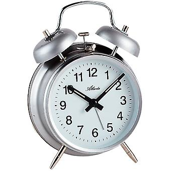 Atlanta 1053/19 mechanical alarm bell alarm clock twin Bell alarm clock grey