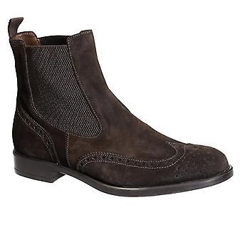 Men's dark brown suede wingtip brogue chelsea boots