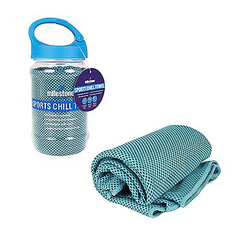 Milestone Sports Chill Towel with Carabiner Bottle - Blue