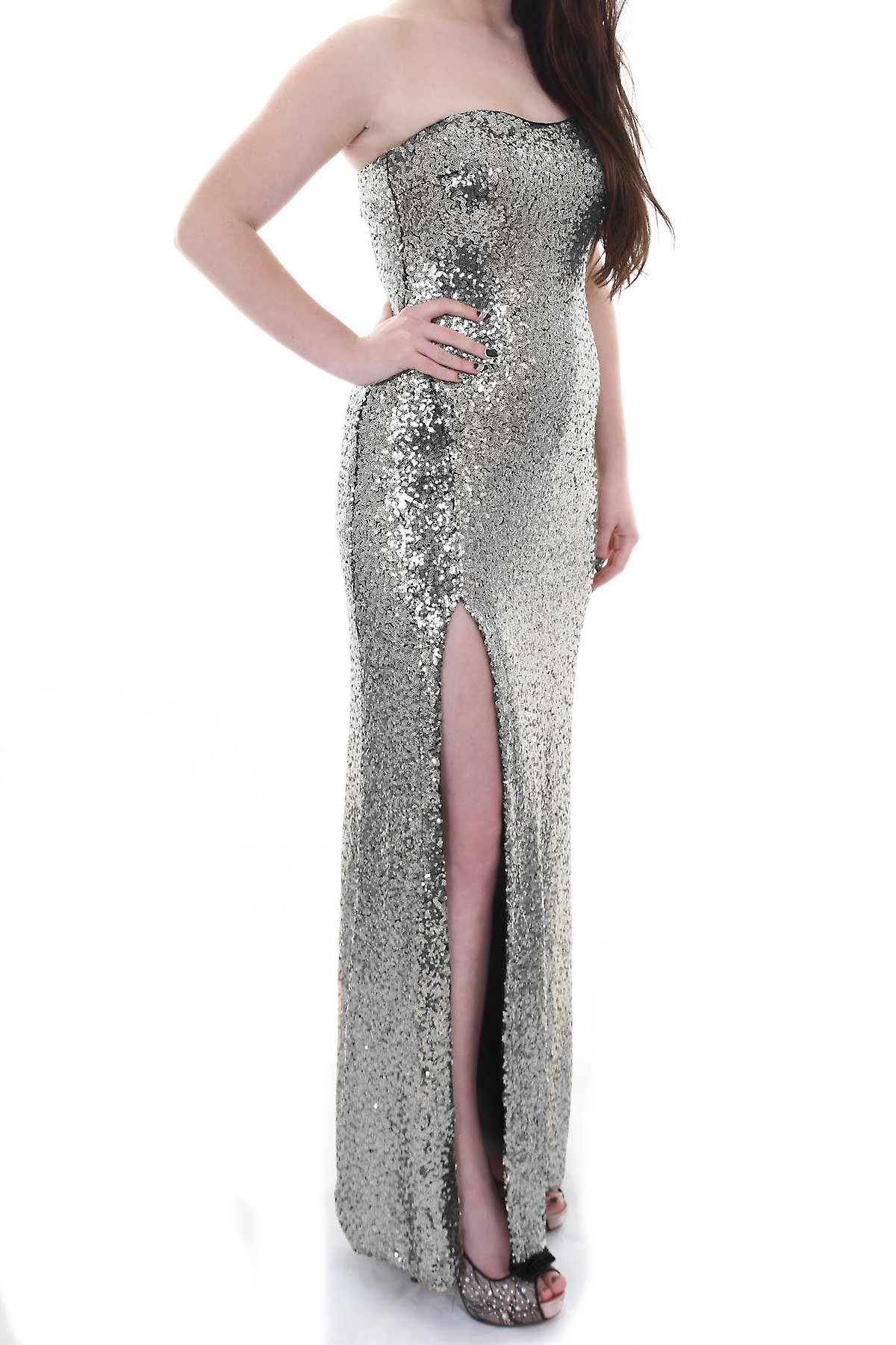 Ladies Celeb Amy Childs Inspired Sequin Side Split Boobtube Women's Maxi Dress