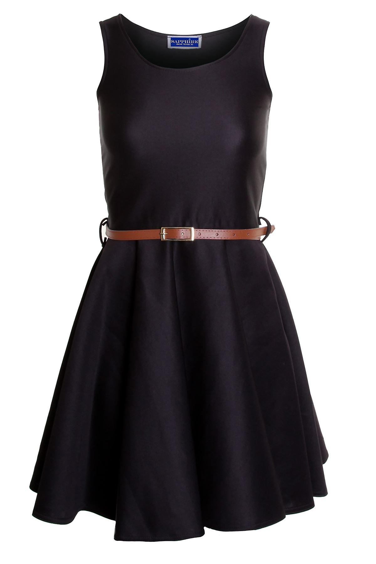 Ladies Smart Skater Belted Pleated Skirt Mini Party Top Women's Dress
