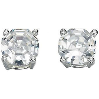 Beginnings Cubic Zirconia Faceted Stud Earrings - Silver/Clear