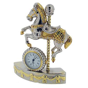 Gift Time Products Carousel Horse Mini Clock - Silver/Gold