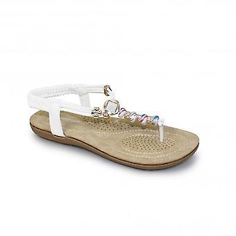 JLH879 Murana dames Jewelled gewatteerde elastische teen Post Thong Beaded sandaal