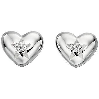 Principios Cubic Zirconia corazón y estrellas pendientes - Plata/Clear