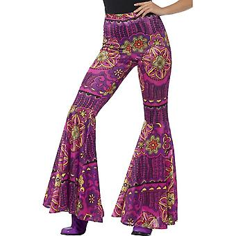 Flared Trousers, Ladies, Pink, Woodstock Psychedelic