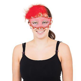Punainen pitkä höyhen Eyemask