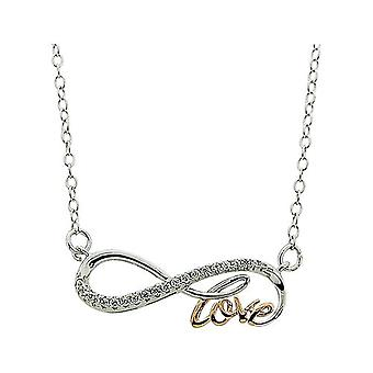TOC Two Tone Sterling Silver CZ Set Infinity Love Necklace 18