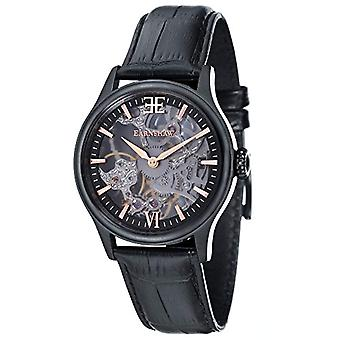 Thomas Earnhshaw Bauer Shadow ES-8061-06 mechanical wrist watch black skeleton dial and black leather band