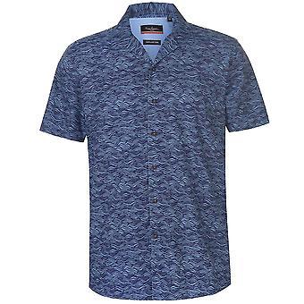 Pierre Cardin Mens Reverse Geometric Print Short Sleeve Shirt Casual Tops