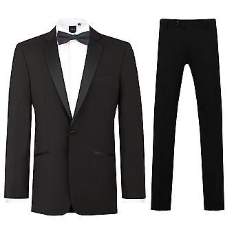 Dobell Mens Black 2 Piece Tuxedo Regular Fit Notch Lapel