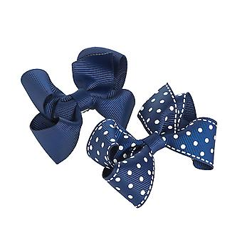 2 navy blue bow girls hair clips