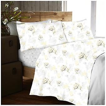 Yarrow Floral Flannelette Brushed Cotton Sheet Set Fitted Flat Sheet Pillow Case