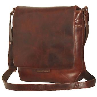 Ashwood nahka Highbury vahattu Vintage Adam Medium Messenger laukku-Vintage Tan