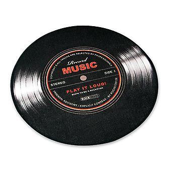 Record Music Teppich mittel Schallplatte schwarz, 100% Polyester mit Baumwollkante, mit Noppenr³ckseite.